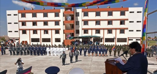 Bolivia s President Evo Morales  R  speaks during the inauguration of the military school which Bolivia s government said would teach an  anti-imperialist  doctrine in Warnes near Santa Cruz  Bolivia  August 17  2016 Courtesy of Bolivian Presidency Handout via REUTERS   ATTENTION EDITORS - THIS IMAGE WAS PROVIDED BY A THIRD PARTY  EDITORIAL USE ONLY
