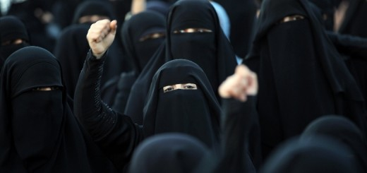 Yemeni pro-democratic female protestors, wearing the niqab, shout slogans during a demonstration in Sanaa on January 3, 2013, demanding a quicker implementation of President Abdrabuh Mansur Hadi's latest orders to restructure Yemen's military. AFP PHOTO/ MOHAMMED HUWAIS