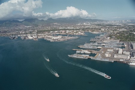 000627-N-5362A-003 PEARL HARBOR, Hawaii (June 27, 2000) -- An aerial view of Pearl Harbor Naval Base, Hawaii and several of the ships that participated in RIMPAC 2000. U.S. Navy photo by Photographer's M ate 2nd Class Arlo Abrahamson. (RELEASED)