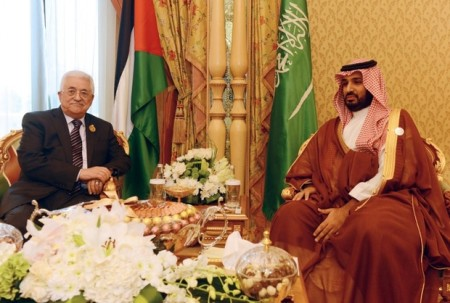 "A handout picture released by the Palestinian Authority's press office (PPO) on November 11, 2015 shows Palestinian president Mahmud Abbas (R) meeting with Saudi Crown Crown Prince Mohammed bin Salman bin Abdul Aziz in Riyadh on the sidelines of the 4th Summit of Arab States and South American countries in Saudi Arabia. AFP PHOTO / PPO / THAER GHANAIM === RESTRICTED TO EDITORIAL USE - MANDATORY CREDIT ""AFP PHOTO / PPO / THAER GHANAIM"" - NO MARKETING NO ADVERTISING CAMPAIGNS - DISTRIBUTED AS A SERVICE TO CLIENTS === / AFP PHOTO / PPO / THAER GHANAIM"