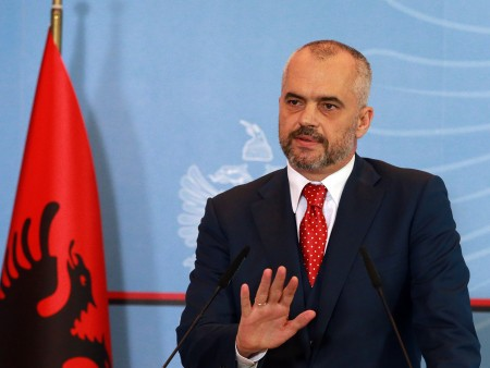 Albania's Prime Minister Edi Rama, in a televised address in the capital, Tirana, on Friday.