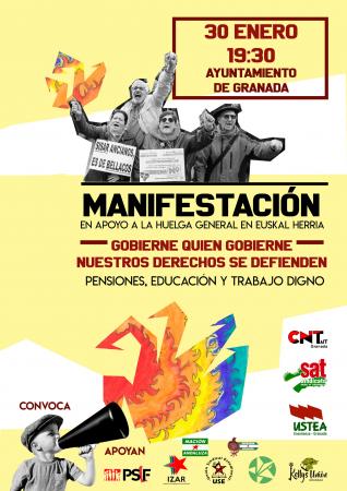 Granada: Manifestación en apoyo a la huelga general en Euskal Herria