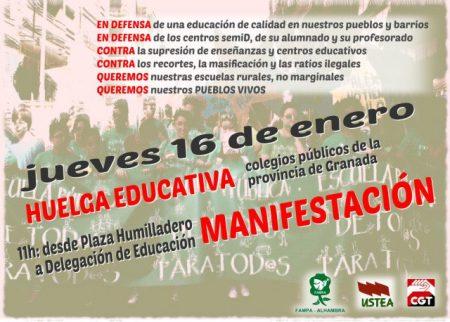 Granada: Huelga en defensa de la educación pública