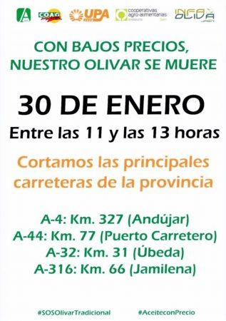 Jaén: Cortes de carretera contra los bajos precios del aceite