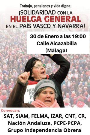 Málaga: Manifestación en solidaridad con la huelga general en Euskal Herria
