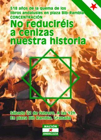 Granada: Concentración por el aniversario de la quema de libros en Plaza Bib Rambla.