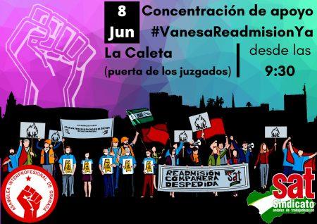 Granada: Concentración de apoyo #VanesaReadmisiónYa