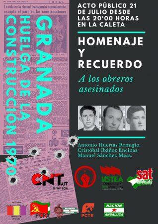 Granada: Acto homenaje albañiles asesinados huelga del 70