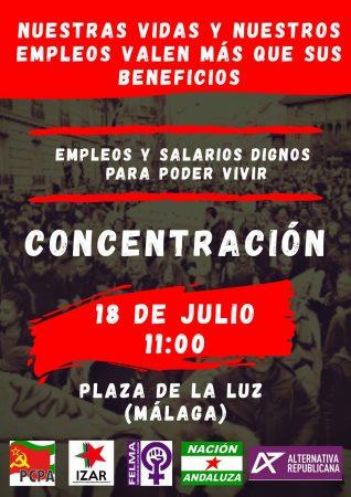 Málaga: Concentración por empleos y salarios dignos