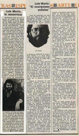 """Recortes de prensa a propósito de su segundo disco """"El anarquismo andaluz""""(1977) y su asesinato."""