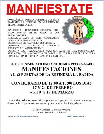 Huelva: Manifestación en la refinería La Rábida