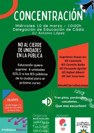 Cádiz: Concentración contra el cierre de unidades en la educación pública