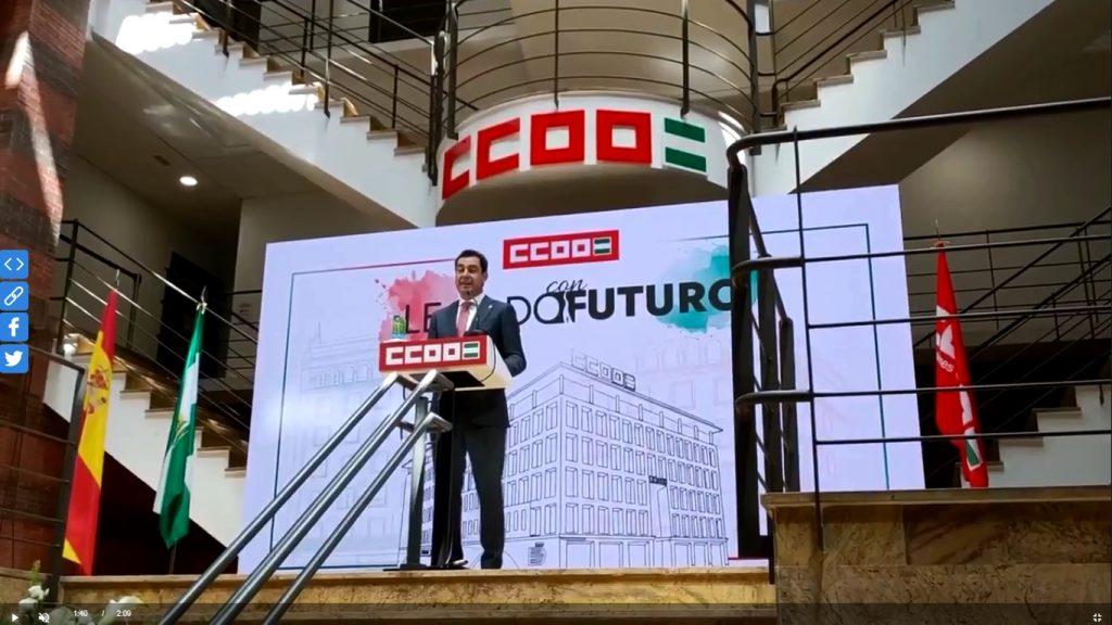 Intervención de Juanma Moreno en la sede recién inaugurada de CCOO (Sevilla)