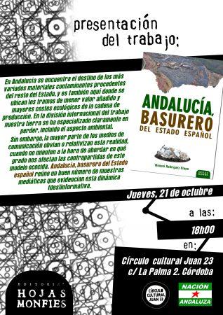 """Córdoba: Presentación del libro """"Andalucía, basurero del Estado español"""""""